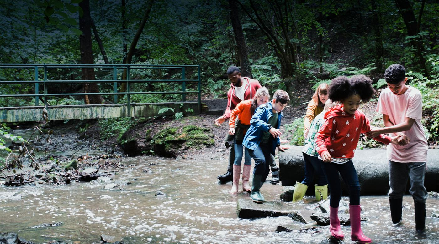 kids crossing stream on field trip