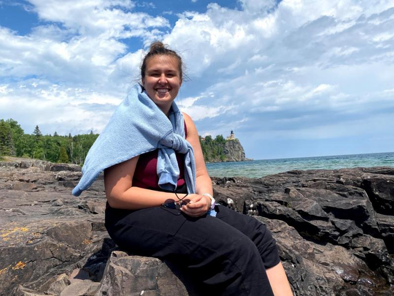 Sophia sits on the shore of Lake Superior