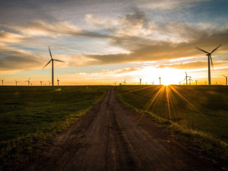 wind turbines along a dirt road in a field at sunset